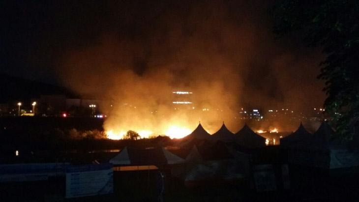 유성온천축제 불꽃놀이 중 화재 발생
