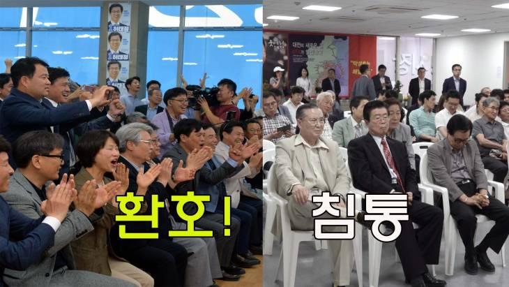 환호 허태정-침울 박성효 대전시장 출구조사 캠프 표정 극과 극