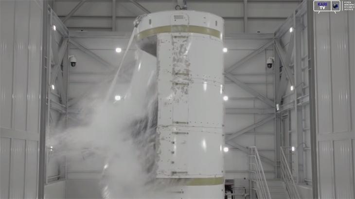 한국형발사체 1단 산화제탱크 내압파열시험 영상
