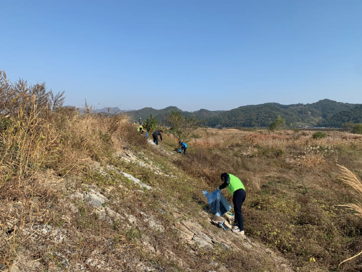 수도과 직원들이 상수원보호구역에서 자연정화활동