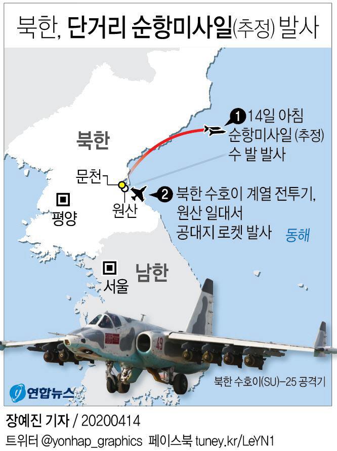 북한, 단거리 순항미사일(추정) 발사