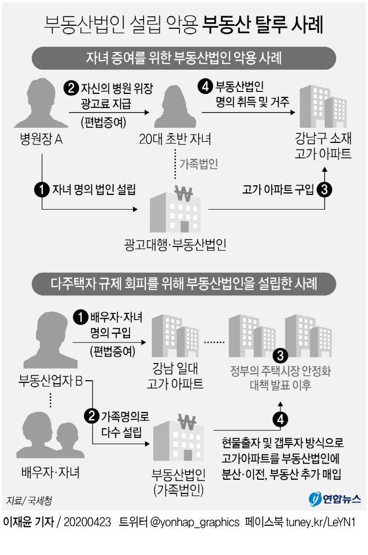 부동산법인 설립 악용 부동산 탈루 사례