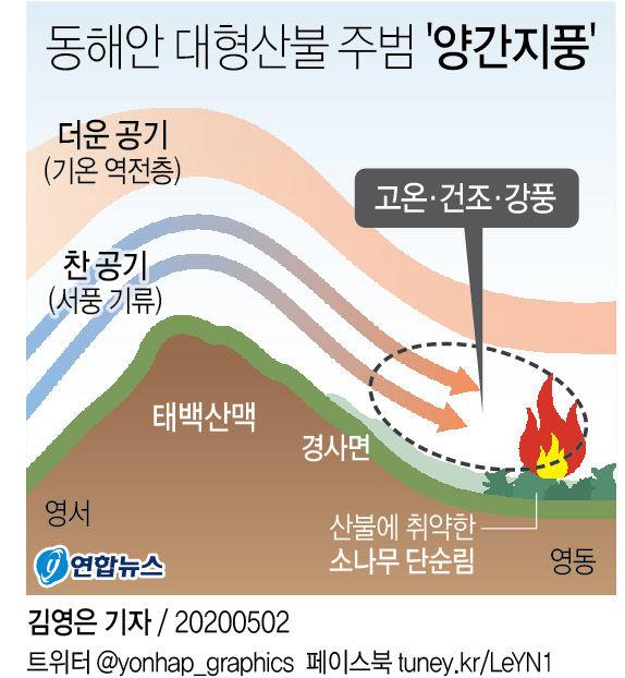 동해안 대형산불 주범 `양간지풍`