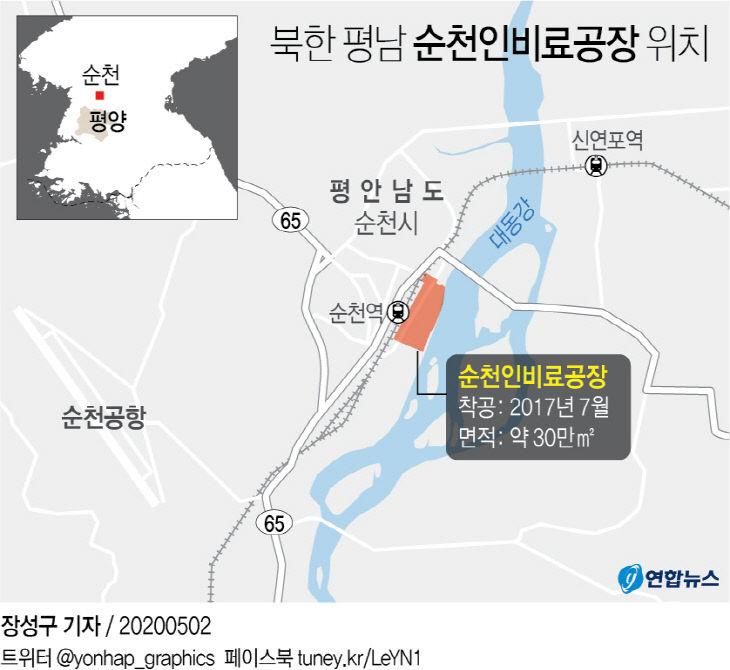 북한 평남 순천인비료공장 위치