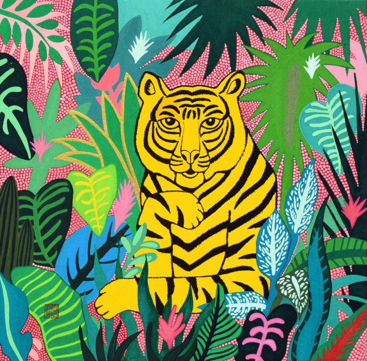 숲속 호랑이Ⅰ_32.0×32.0cm,장지에 채색
