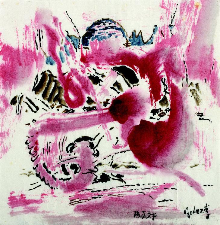 이응노, 동방견문록 시리즈, 1980, 한지에 수묵담채, 17x17cm