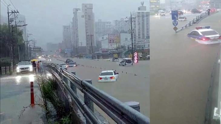 경찰차 물에 잠기고! 천안 집중호우로 새내 도로 곳곳 통제