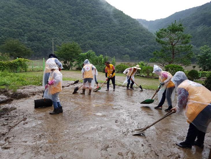 사진2) 옥천군적십자봉사회 회원 수해 복구 봉사를 하고 있다.