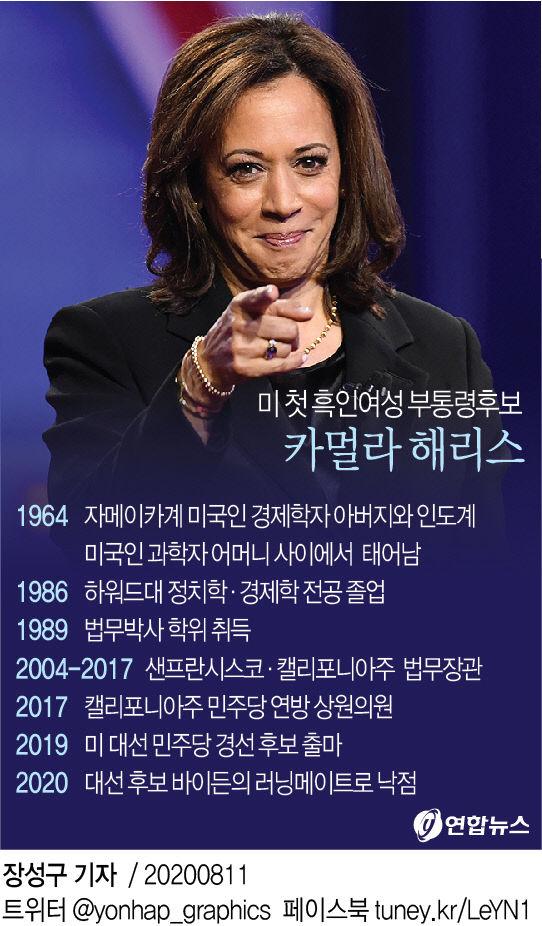 미 첫 흑인여성 부통령후보 카멀라 해리스