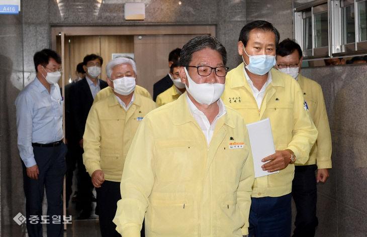 박재현 한국수자원공사 사장 만난 용담댐 피해 지역 단체장