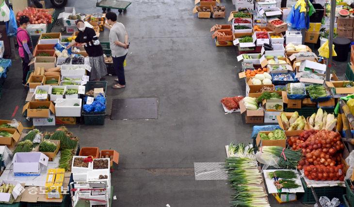 채소값 '껑충'에 썰렁한 농수산물도매시장