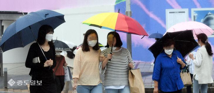 태풍 '하이선'의 영향으로 비 내리는 대전
