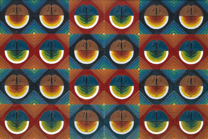 탄생 67-1,2, 1967, 캔버스에 콜라주(2000년 재제작)