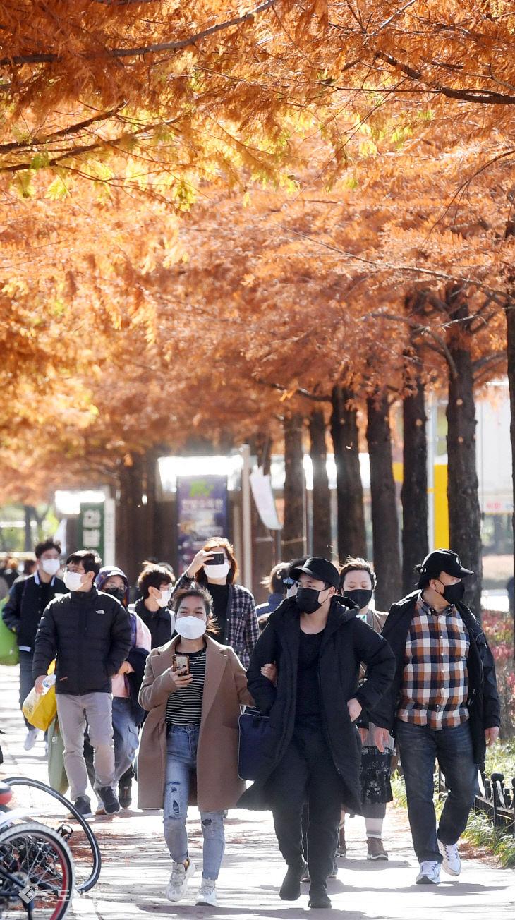 새로운 사회적 거리두기 시행 첫 휴일…가을 만끽하는 시민들