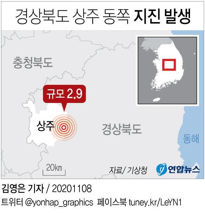 경북 상주 동쪽 지진 발생