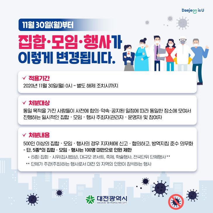 대전시, 100인 이상 일부 집합, 모임, 행사 금지_홍보이미지