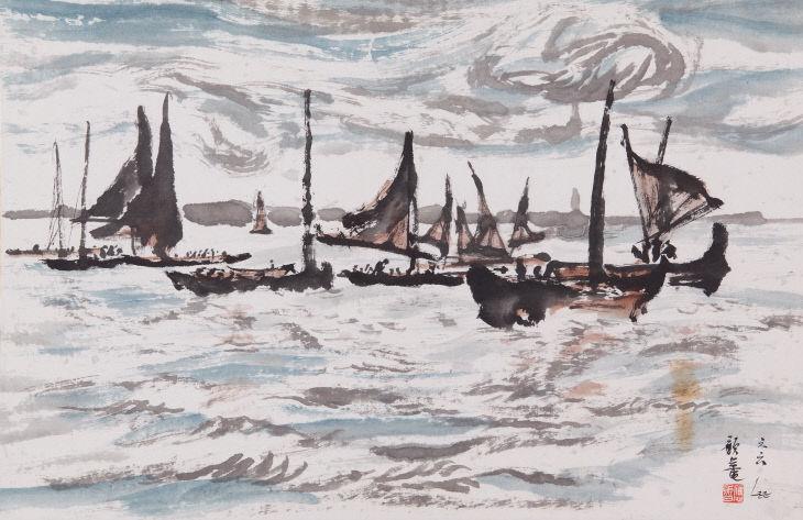 바다풍경,1966년, 한지에 수묵담채, 67x44cm