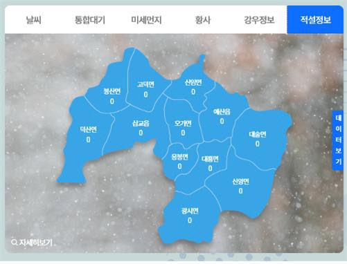보도자료06_예산군 재난안전포털 실시간 적설량 현황 모습